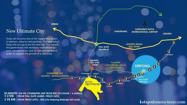 Peta Lokasi Kota Podomoro Tenjo