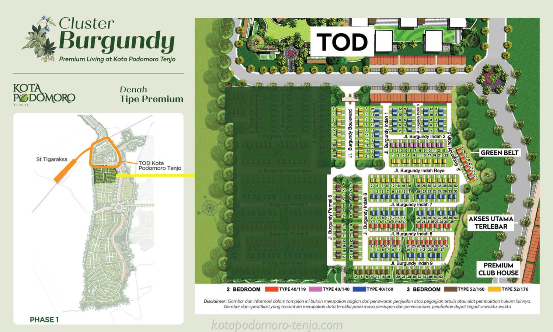 Siteplan Cluster Burgundy Kota Podomoro Tenjo